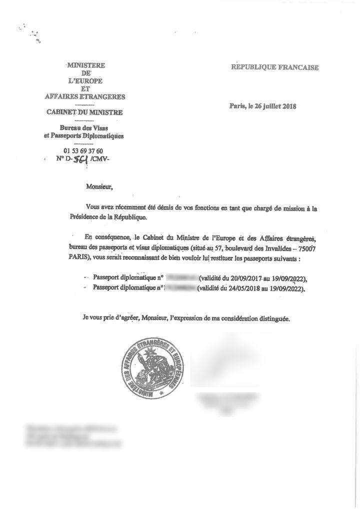 Dans un courrier recommandé daté du 26 juillet 2018, le ministère des Affaires étrangères demande à Alexandre Benalla de restituer ses passeports. (FRANCEINFO)