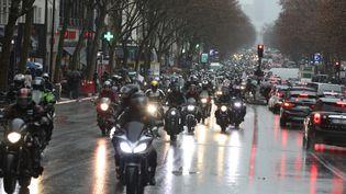 Manifestation de motards à Paris, en février 2021 (illustration). (OLIVIER LEJEUNE / PHOTOPQR / LE PARISIEN / MAXPPP)