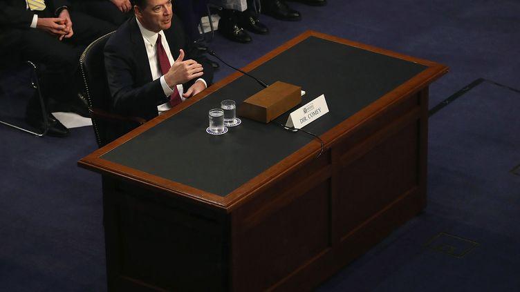 James Comey, ancien directeur du FBI, lors de son audition devant la Commission du renseignement du Sénat, à Washington, le 8 juin 2017. (MARK WILSON / GETTY IMAGES NORTH AMERICA / AFP)