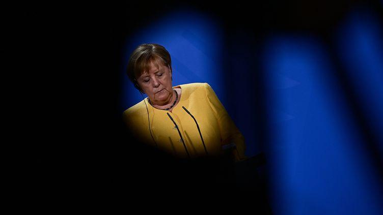 La chancelière Angela Merkel le 27 août 2021 à Berlin. (TOBIAS SCHWARZ / DPA PICTURE-ALLIANCE VIA AFP)