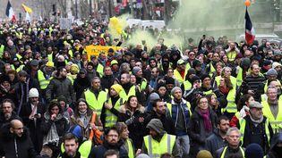 """Une manifestation de """"gilets jaunes"""" à Paris, le 26 janvier 2019. (ALAIN JOCARD / AFP)"""