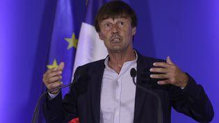 Nicolas Hulot,ministre de la Transition écologique et solidaire lors de la présentation du plan climat à Paris le 6 juillet 2017. (THOMAS SAMSON / AFP)