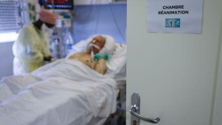 Un patientcontaminé au coronavirus en chambre de réanimation, le 12 novembre 2020, à Paris. (THOMAS SAMSON / AFP)