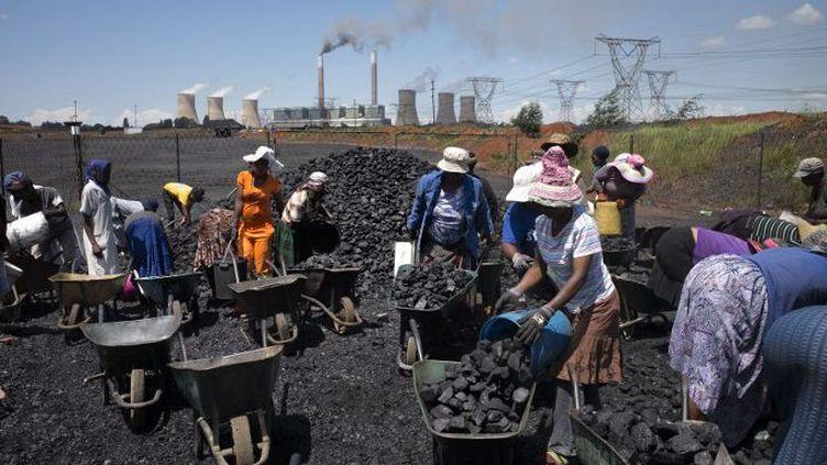 Des Sud-Africaines récupèrent le charbon à proximité d'une centrale thermique. (AFP/Marco Longari)