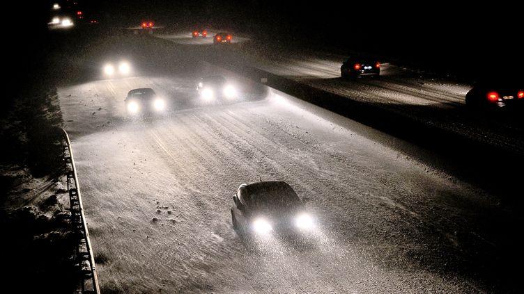 L'autoroute A25 sous la neige, à la hauteur deGodewaersvelde (Nord), le 14 janvier 2013. (PHILIPPE HUGUEN / AFP)