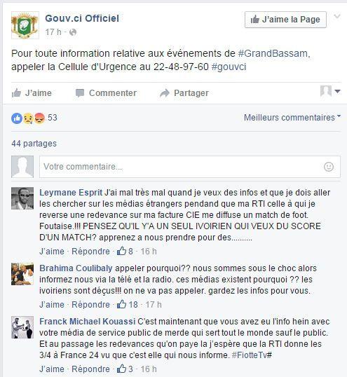 Capture d'écran des réactions à un post du gouvernement ivoirien sur Facebook (DR)