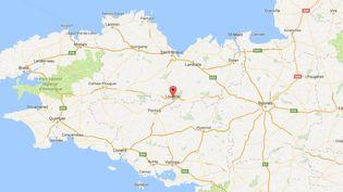 Capture écran Google Maps de la commune de Loudéac (Côtes d'Armor), près delaquelle un séisme de magnitude 3,7 a eu lieu, samedi 7 janvier. (GOOGLE MAPS)