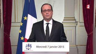"""François Hollande lors de son allocution après l'attaque qui a visé """"Charlie Hebdo"""", le 7 janvier 2015. (FRANCE 2)"""