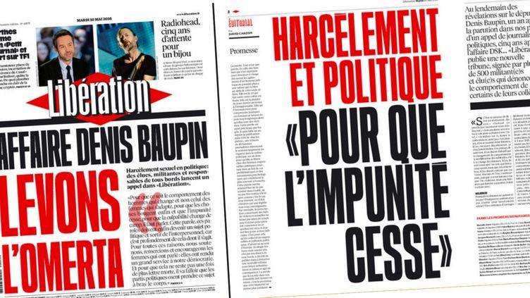 """La une de """"Libération"""", le 10 mai 2016. (LIBERATION)"""