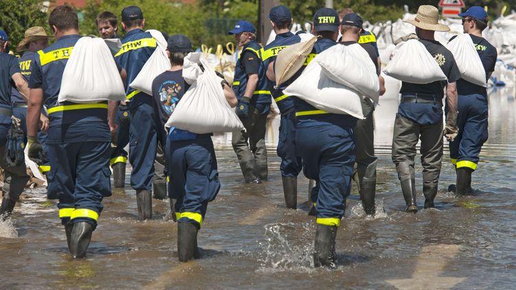 Des sauveteurs allemands transportent des sacs de sable pour bloquer la montée des eaux de l'Elbe, à Magdebourg, le10 juin 2013. (JENS MEYER / AP / SIPA )