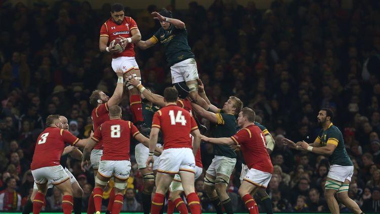 A l'image de cette prise en touche de Taulupe Faletau, le pays de Galles a largement domioné l'Afrique du Sud (GEOFF CADDICK / AFP)