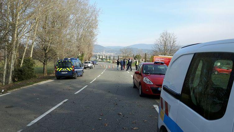 L'accident a eu lieu à Cadenet (Vaucluse), le 22 février 2018. (RADIO FRANCE / DANIEL MORIN)