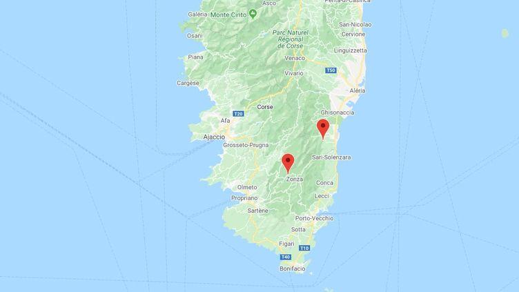 Solaro et Quenza, en Corse. (GOOGLE MAPS)