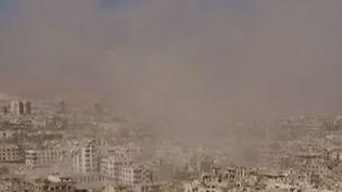 Capture d'écran des bombardement dans la région syrienne d'Idleb filmés par les avions russes, le 1etr octobre 2015 (MINISTÈRE RUSSE DE LA DÉFENSE )