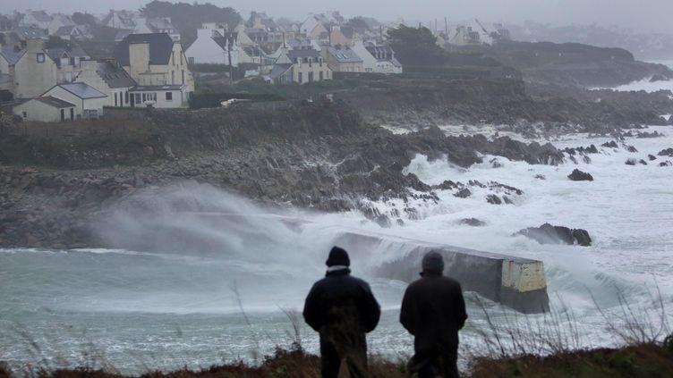 Deux hommes observent la houle lors du passage de la tempête Dirk à Pors Poulhan (Finistère). (  MAXPPP)