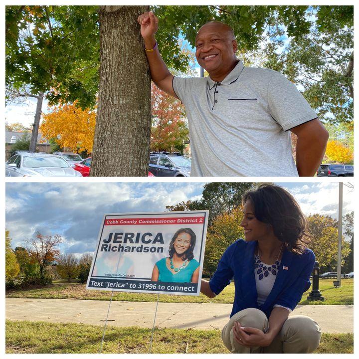 En haut, Craig Owens, premier Afro-Américain élu shérif du comté de Cobb (Géorgie), le 8 novembre 2020. En bas, la démocrate Jerica Richardson, élue dans le comté de Cobb. (RAPHAEL GODET / FRANCEINFO)