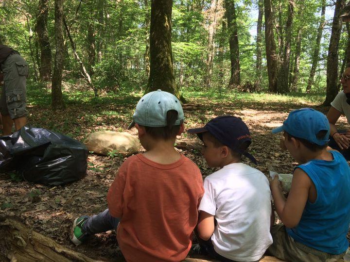 Au centre de loisirs des Mounines, près de Moulins dans l'Allier, les enfants prennent leur pique-nique au frais, dans les bois. (ARIANE GRIESSEL / RADIO FRANCE)