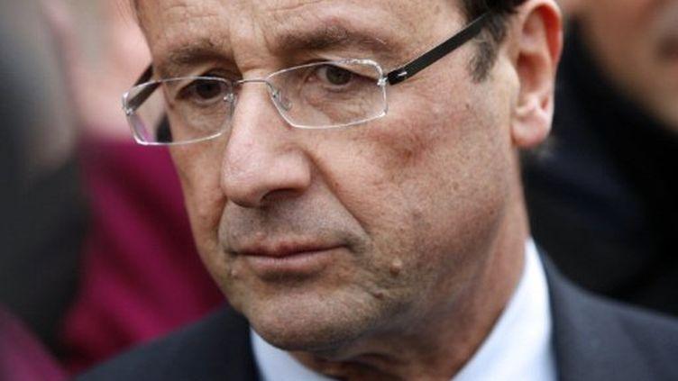 François Hollande (PS) à Mantes-la-Jolie (Yvelines) le 20 décembre 2011 (SAMSON THOMAS /AFP PHOTO)