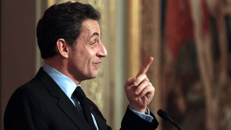 Nicolas Sarkozy lors d'une allocution à l'Elysée, le 9 février 2012. (PIERRE VERDY / AFP)