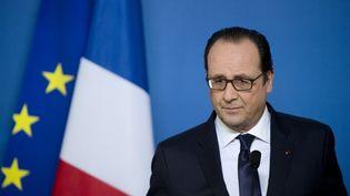 François Hollande donne une conférence de presse à Bruxelles (Belgique), le 12 février 2015. (ALAIN JOCARD / AFP)