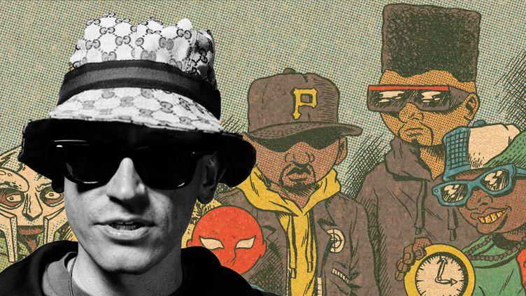 Ed Piskor à côté de ses héros Public Enemy (et MF Doom) dessinés par ses soins.  (Ed Piskor / Papa Guédé Editions)