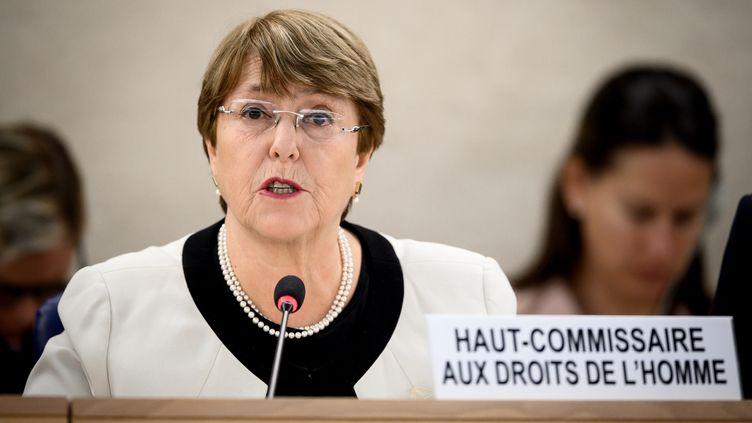 Michelle Bachelet, la Haut-Commissaire aux Droits de l'Homme de l'ONU à Genève, le 6 mars 2019. (FABRICE COFFRINI / AFP)