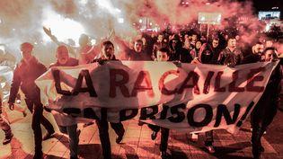 Lors d'une manifestation de policiers à Lyon (Rhône), le 4 novembre 2016. (MAXPPP)
