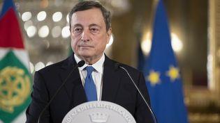 Mario Draghi lors d'une conférence de presse au palais présidentiel italien, à Rome, le 3 février 2021. (QUIRINALE / ITALIAN PRESIDENCY / ANADOLU AGENCY / AFP)