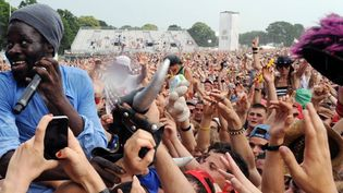 Le chanteur Féfé lors de son concert aux Vieilles Charrues le 20 juillet 2013  (FRED TANNEAU / AFP)