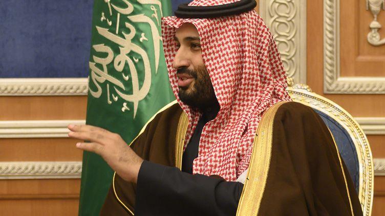Le prince héritier saoudien,Mohammed ben Salmane, lors d'une rencontre avec le secrétaire d'Etat américain à Riyad, le 14 janvier 2019. (ANDREW CABALLERO-REYNOLDS / POOL / AFP)