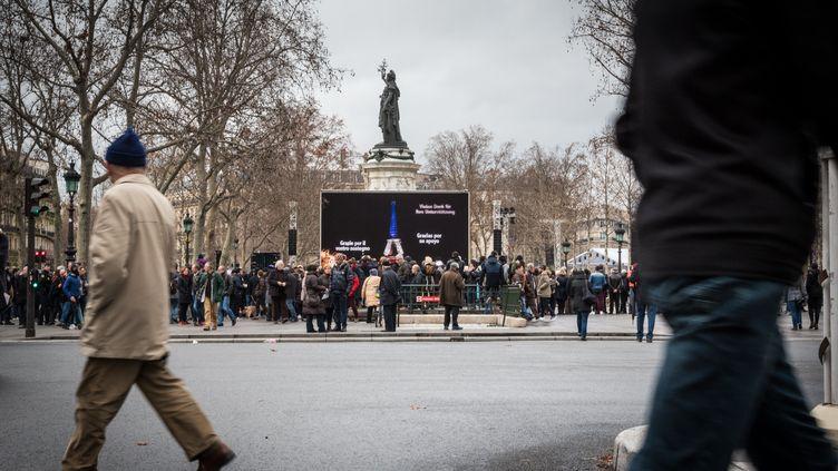 La place de la République à Paris, le 10 janvier 2016. (CITIZENSIDE / ANNE-CHARLOTTE COMPA / AFP)