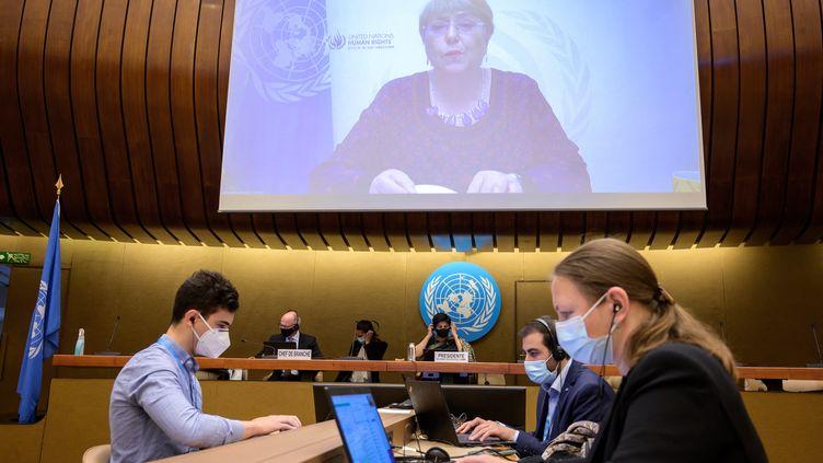 Le Conseil des droits de l'homme de l'ONU se réunit à Genève (Suisse), le 27 mai 2021. (FABRICE COFFRINI / AFP)