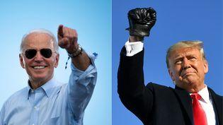 Joe Biden (à gauche), le candidat démocrate à la présidentielle américaine et Donald Trump (à droite), candidat républicain et actuel président. (JIM WATSON / AFP)