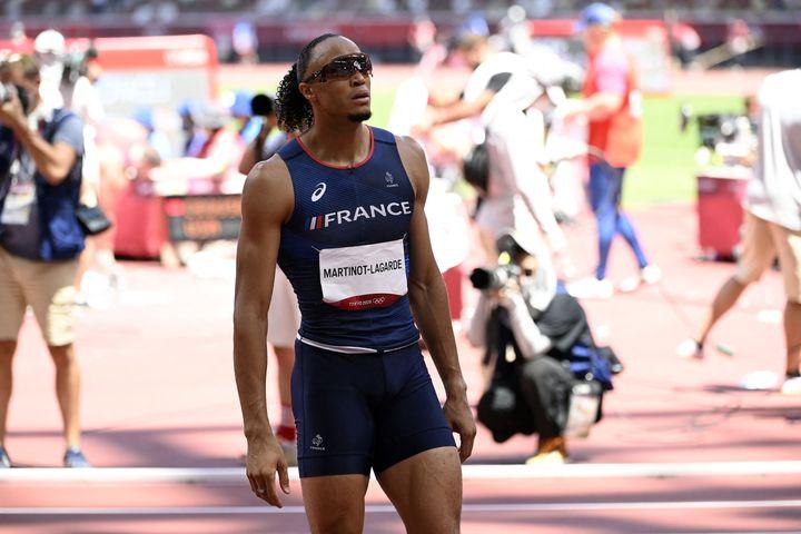 Pascal Martinot-Lagarde à l'issuede la finale du 110 m haies, le 5 août (CROSNIER JULIEN / KMSP)