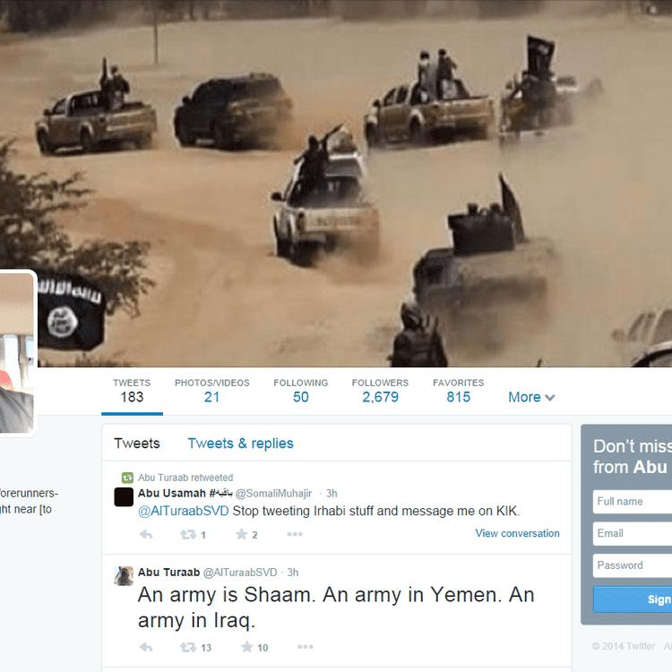Le compte Twitter d'Abu Turaab, jihadiste de l'Etat islamique, juste avant sa fermeture. (ABU TURAAB)