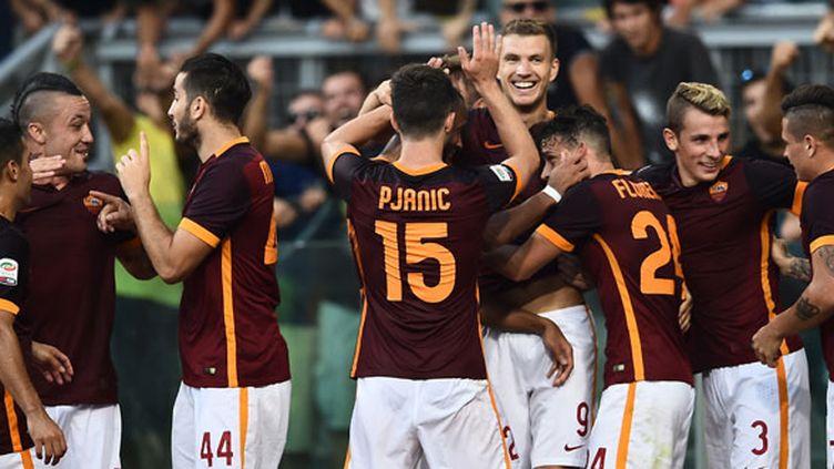 La joie des joueurs de l'AS Roma