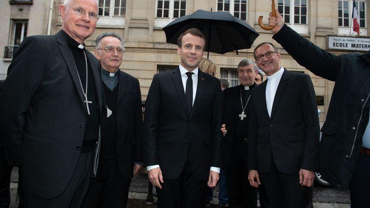 Emmanuel Macron au collège des Bernardins à Paris, le 9 avril 2018. (JACQUES WITT / MAXPPP)