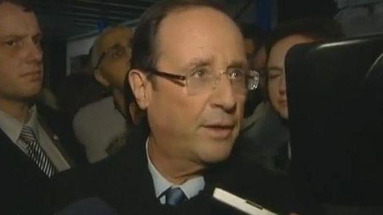 Le candidat socialiste à la présidentielle François Hollande, mardi 14 février 2012 à Saint-Etienne (Loire). (FRANCE TELEVISIONS)