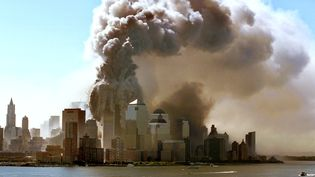 Les tours du World Trade Center s'effondrent à New York (Etats-Unis), le 11 septembre 2001.  (HUBERT BOESL / DPA / AFP)