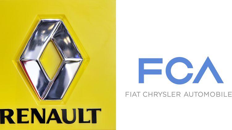 Les logos de Renault et du groupe FCA. (FABRICE COFFRINI / FIAT PRESS OFFICE )