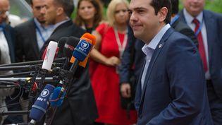 Alexis Tsipras, le 13 juillet 2015, à Bruxelles (Belgique). (CITIZENSIDE / JONATHAN  RAA / AFP)