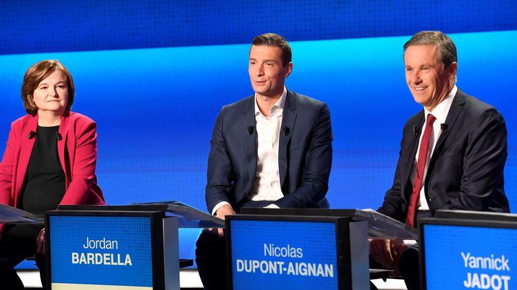 """Les candidats aux européennes débattent lors de """"L'Emission politique"""" de France 2, le 4 avril 2019. (BERTRAND GUAY / AFP)"""