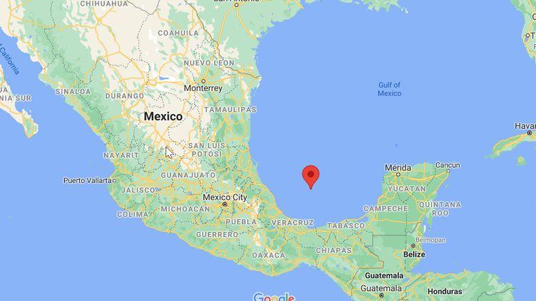 La baie de Campeche,dans le golfe du Mexique, où unincendie a été observé à la surface de l'eau après une fuite de gaz sur un gazoduc de la compagnie mexicaine Pemex, le2 juillet 2021. (GOOGLE MAPS)