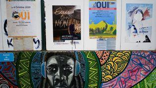 Les affiches de campagne pour le référendum sur l'indépendance, le 28 septembre 2020, àKone, en Nouvelle-Calédonie. (THEO ROUBY / AFP)