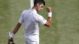 Novak Djokovic lors de sa finale contre Matteo Berrettini à Wimbledon, le 15 juillet 2021. (PETER NICHOLLS / AFP)