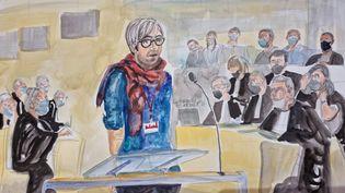 Grégory, l'un des onze otages du couloir du Bataclan, témoigne le 19 octobre 2021 au procès des attentats du 13-Novembre. (ELISABETH DE POURQUERY / FRANCEINFO)
