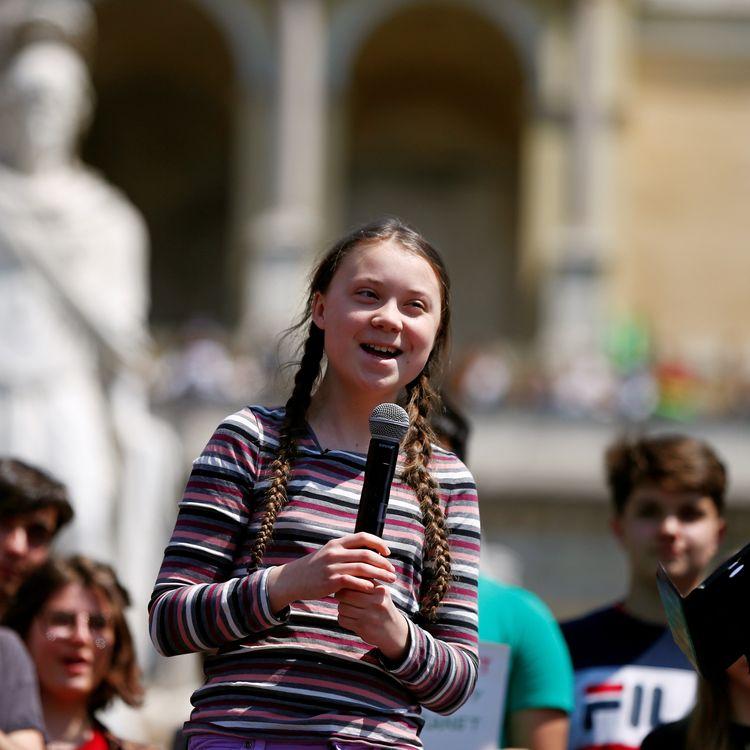 Greta Thunberg participe à une action des jeunespour le climat à Rome, en Italie, le 19 avril 2019. (YARA NARDI / REUTERS)