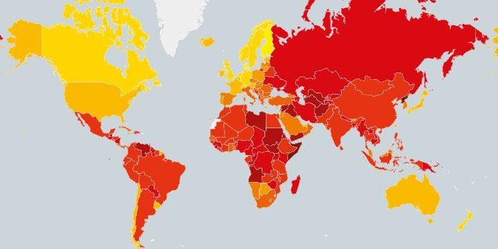 La corruption dans le monde. Plus le pays est en rouge, plus le niveau de corruption est important, selon l'ONG. (Transparency International)