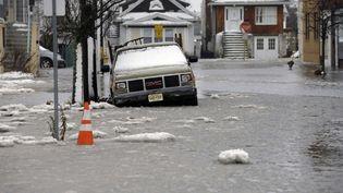"""A Atlantic City, dans le New Jersey, Jonas a provoqué des inondations. L'Etat est en """"alerte blizzard"""" jusqu'à dimanche soir au moins. (MEL EVANS / AP / SIPA)"""