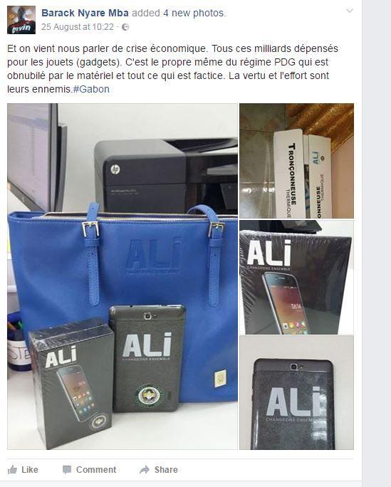 Capture écran du compte Facebook de Barack Nyare Mba, sur les cadeaux distribués par Ali Bongo durant la campagne présidentielle, le 25 août 2016. (BARACK NYARE MBA)